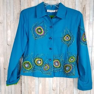 Anage Embroidered Cotton Jacket Size M